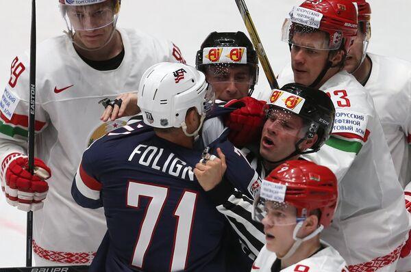 Игровой момент матча группового этапа чемпионата мира по хоккею Белоруссия - США