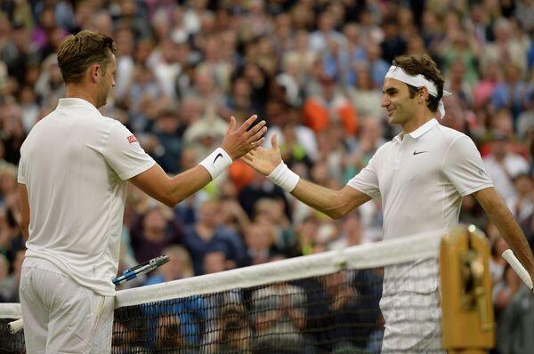 Маркус Уиллис и Роджер Федерер (слева направо)